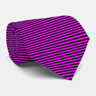 Modern Black and Pink Pinstripe Stripes Tie