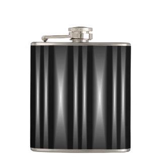 Modern Black and White Bar Pattern Hip Flask