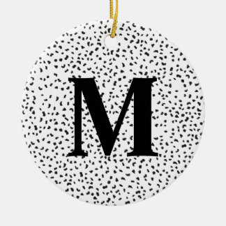 Modern Black and White Dalmatian Spots Christmas Ornament
