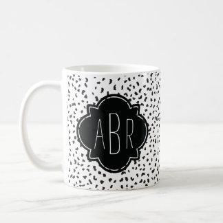 Modern Black and White Dalmatian Spots Monogrammed Coffee Mug