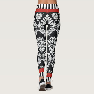 Modern black and white damask pattern red leggings