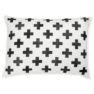 Modern black and white dog bed Swiss cross pattern