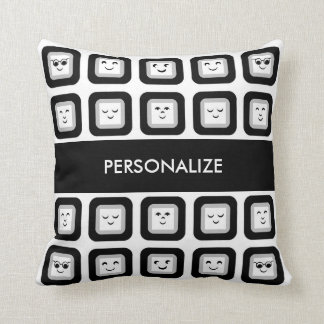 Modern Black and White Emoticon Tiles With Name Cushion
