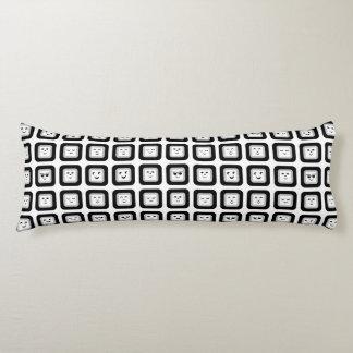 Modern Black and White Geometric Emoticon Tiles Body Cushion
