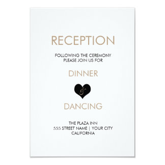 Modern Black and White Heart Reception Card