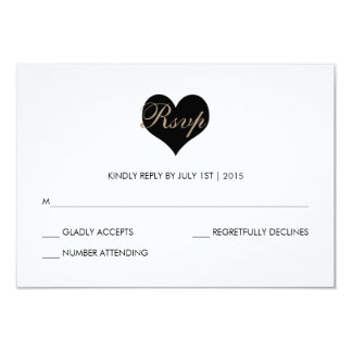 Modern Black and White Heart RSVP Card