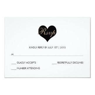 Modern Black and White Heart RSVP Card 9 Cm X 13 Cm Invitation Card
