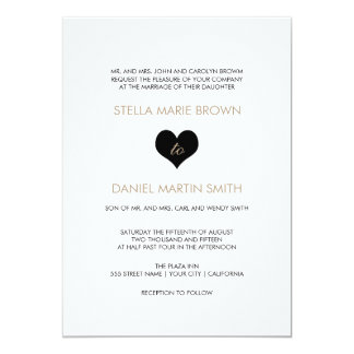 Modern Black and White Heart Wedding Invitation