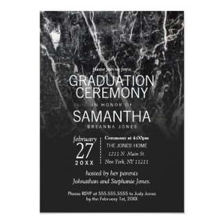 Modern Black and White Marble Graduation Ceremony Card