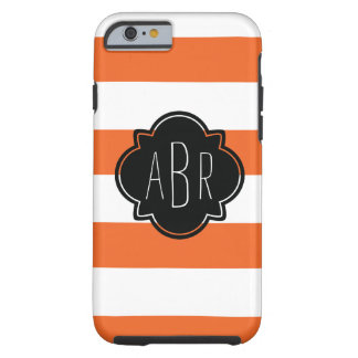 Modern Black and White Monogram and Orange Stripes Tough iPhone 6 Case