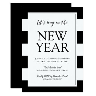 Modern Black and White New Year's Eve Party Invite