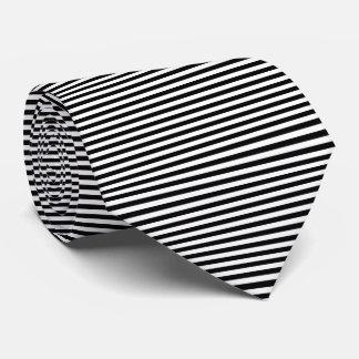 Modern Black and White Pinstripe Stripes Tie