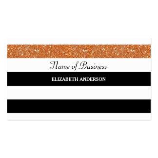 Modern Black and White Stripes Chic Orange Glitter Pack Of Standard Business Cards