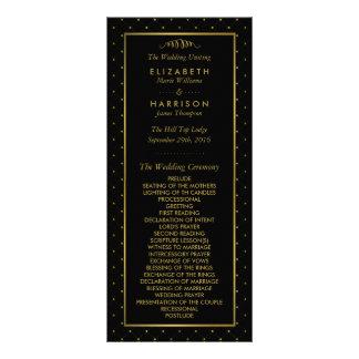 Modern Black & Gold Foil Effect Wedding Program Rack Card