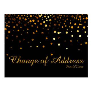 Modern Black Gold Glitter Faux Change of Address Postcard