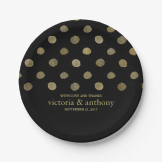 Modern Black & Gold Polka Dots Wedding Paper Plate