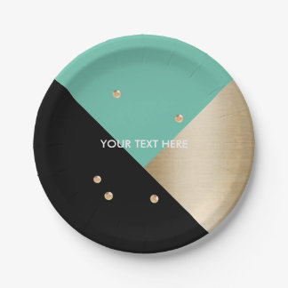 Modern Black Gold Turquoise Gold Sequins Wedding 7 Inch Paper Plate