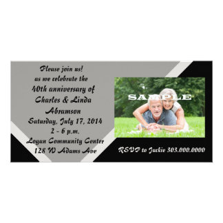 Modern Black Silver Anniversary Celebration Personalized Photo Card