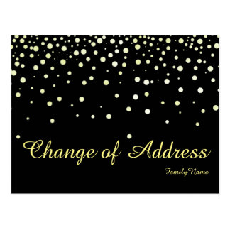 Modern Black Silver Glitter Change of Address Postcard