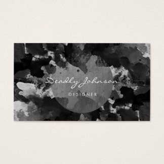 Modern Black Watercolor Abstract Elegant Cool Business Card