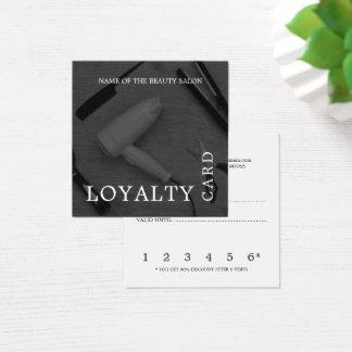Modern Black White Hair Salon Loyalty Square Business Card