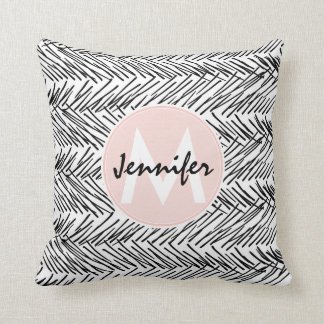 Modern Black & White Hand Drawn Zigzag Monogram Throw Pillow