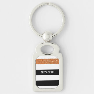 Modern Black White Stripes Orange Glitter and Name Silver-Colored Rectangle Key Ring