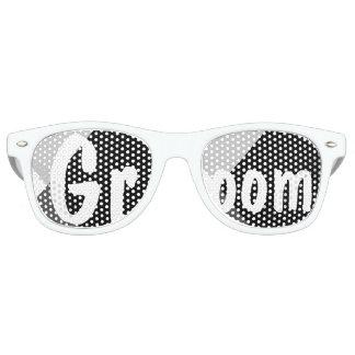 Modern black white triangles wedding Groom Retro Sunglasses