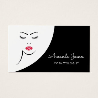 Modern Black White Woman Red Lips Cosmetologist Business Card