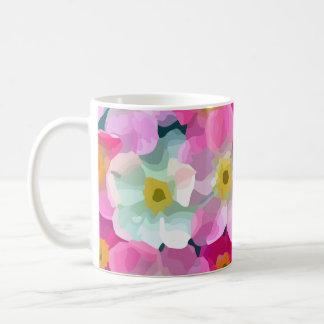 Modern Blossoms - Pink Magenta Yellow White Flower Coffee Mug