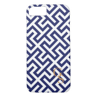 Modern blue and white geometric patterns monogram iPhone 8/7 case