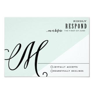 MODERN BLUE COLORBLOCK WEDDING response card