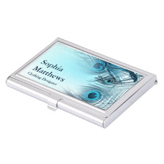 Modern Blue Peacock Feathers Business Card Holder