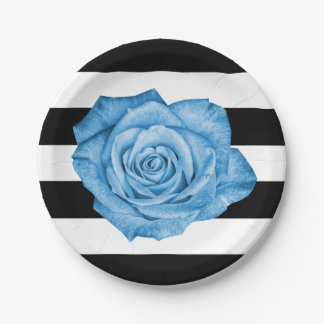 Modern Blue Rose Black White Striped Wedding Party Paper Plate