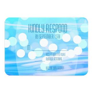 Modern Blue Sparkle Wedding Celebration RSVP Cards
