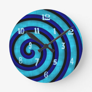 Modern blue swirl design with funky numbers round clock
