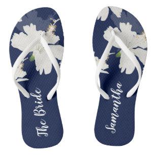 Modern Blue & White Tropical Bride/Bridesmaid Jandals