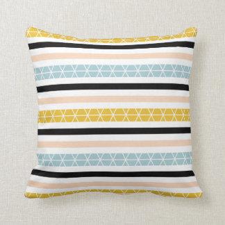 Modern Blue Yellow Black White Stripes Pattern Cushion