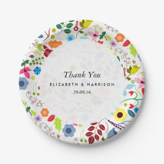 Modern Boho Chic Floral Wedding 7 Inch Paper Plate