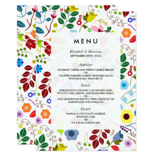 Modern Boho Chic Floral Wedding Menu 11 Cm X 16 Cm Invitation Card