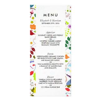 Modern Boho Chic Floral Wedding Menu Rack Card Template