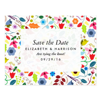 Modern Boho Chic Floral Wedding Save The Date Postcard
