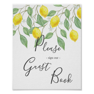 Modern Boho Watercolor Lemon Summer Wedding Sign