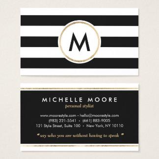 Modern bold black stripes chic white gold monogram business card