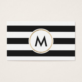 Modern bold black stripes chic white gold monogram business card