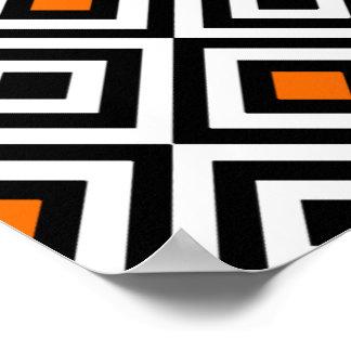 Modern Bold Diamond Pattern (Orange) Poster