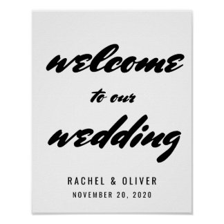 Modern Bold Typography Welcome Wedding Sign