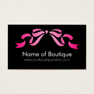 Modern Boutique Pink and Black Girly Ribbon Business Card