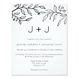 Modern branch wedding invitations