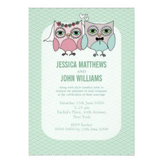 Modern Bride & Groom Owl Couple Wedding Invite